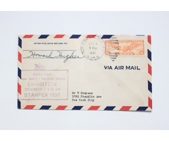 Howard Hughes Signature 1937 Signed Airmail Cover