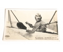 Early French Aviator M. Pegoud Signed Postcard 1913